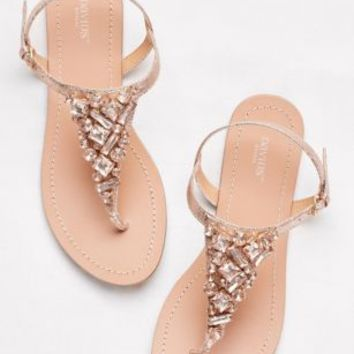 Jeweled Metallic Ankle-Strap Thong Sandals | David's Bridal