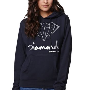 Diamond Supply Co OG Script Pullover Hoodie - Womens Hoodie - Blue
