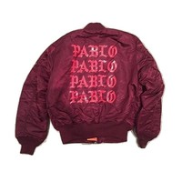 Indie Designs Kanye West Favorite Pablo Printed Red Ma-1 Bomber Jacket