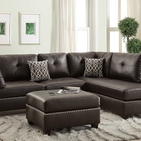 Poundex F6973 3 pc martinique collection espresso bonded leather upholstered sectional sofa with reversible chaise and ottoman