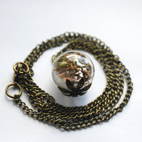 Woodland Treasure Necklace 06 Real Moss Mini Feather Glass Orb Vintage Specimen Jewelry