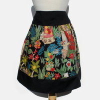 Frida Kahlo Mexican Inspired Flowers and Animals Skirt Black