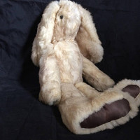 Authentic Rabbit Fur Stuffed Bunny Rabbit Bunny Plush Toy Rabbit Plush Real Fur Plush Stuffed Animal Rabbit Bunny Plush Doll Stuffed Toy