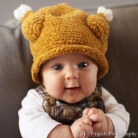 Melondipity Little Turkey Thanksgiving Baby Hat - Brown Winter Crochet Beanie