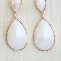 Icy White Raindrop Drop Down Earring