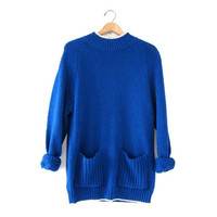 Vintage Slouchy Sweater. Blue Sweater w Pockets. Long Sweater.