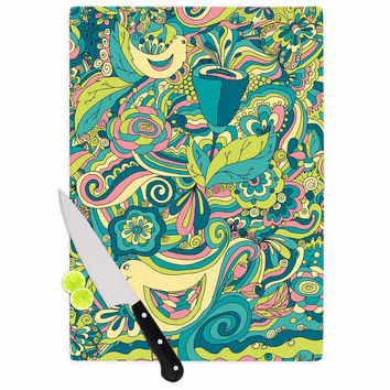 "Alisa Drukman ""Birds in garden"" Teal Green Cutting Board"