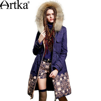Artka Women's Winter New Ethnic Patchwork Padded Coat Vintage Hooded Long Sleeve Drawstring Waist Quilted Outerwear MA15157D