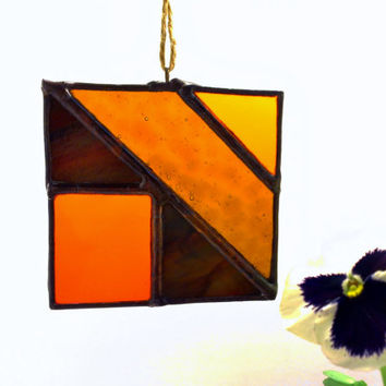 Orange Amber Bronze Abstract Stained Glass Autumn Sun Catcher Ready to Ship