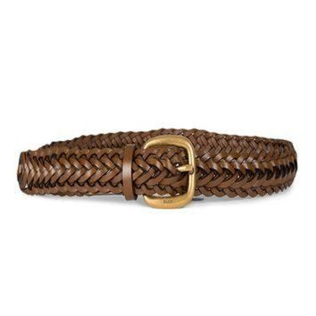 CREY1O Gucci Women's Braided Leather Belt with Gold Buckle 380606 2535 Brown (32-38 in/80-95