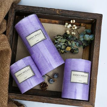 Scented candles Romantic purple lavender Aromatherapy Pillar candle