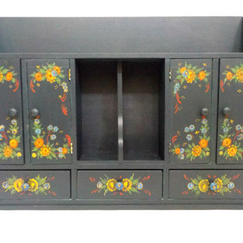 Large Wall Cabinet, Hand Painted Tole Folk Art Wall Cabinet, Folk Art, Dark Teal with Tole Painting, Farmhouse or Cottage Decor