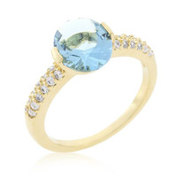 Aqua Oval Cubic Zirconia Engagement Ring, size : 09
