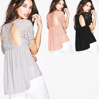 Halter Lace Short Sleeve Knit Top