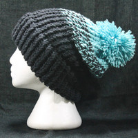 Black and Sage Green Knit Winter Hat with Pompom