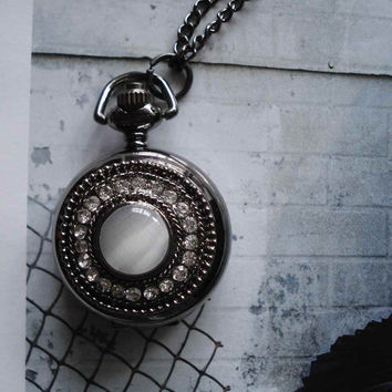 Necklace Pendant New Crystal Pocket Watch by Azuraccessories