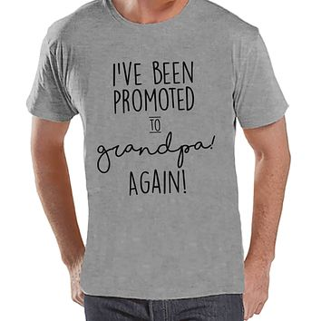 Pregnancy Announcement - Promoted to Grandpa Again - Mens Grey T-shirt - Grandparent Pregnancy Reveal Idea - New Grandparents - Grandpa Tee