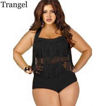 DCCKHG7 Trangel Plus Size 4XL Bikini Vintage Long-line Tassel Fringe Women Female High Waist Swimsuit Wear Push up Bikini Bathing Suits