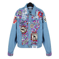 Denim Beaded Patch Long-Sleeve ButtonCollared Jacket