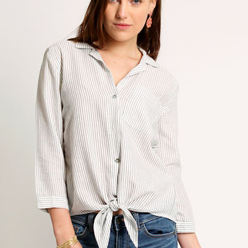 Precious Truth Pinstripe Button-Up Blouse