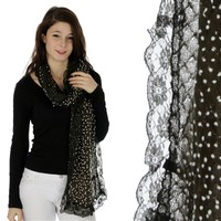 Women's Mesh Shawl with Lace