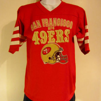 Vintage Amazing 80s SAN FRANCISCO 49ers Football Graphic Women Small JERSEY Style 50/50 T-Shirt