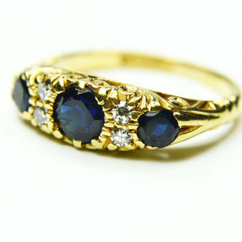 Vintage 18k Gold Sapphire and Diamond Ring Diamond and Sapphire Ring Stackable Ring 18k Gold Band English Hallmarks Genuine Sapphire Ring
