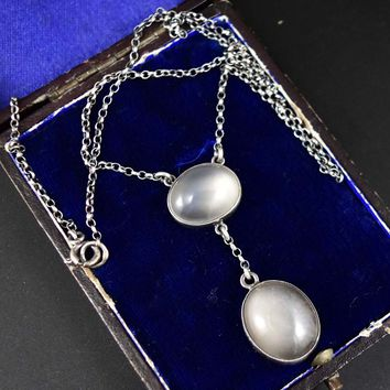 Sterling Silver Antique Edwardian Moonstone Necklace 1900s