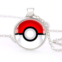 Pokemon Inspired Pokeball Pendant Necklace