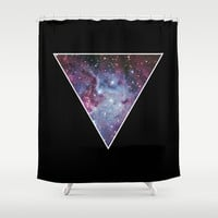 Galaxy Triangle Print Shower Curtain by RexLambo