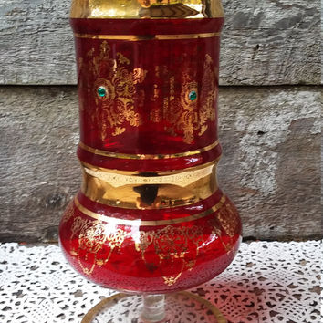 "RED ITALIAN GLASS Vase,  Tall Art Deco, Art Nouveau, Embellished Green Gems Stones, European, 11"" tall, Decorative Glass Vase, Red Vase"
