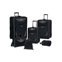 Travelers Club Expandable Suitcase Carry On Bag Skyview II 6 Piece Luggage Set