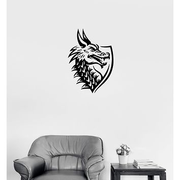 Wall Decal Head Dragon Shield Label Lizard Tale Vinyl Sticker (ed1173)