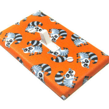 Orange Raccoon Woodland Home Decor Animal Critter Coon Decoration Switchplate Switch Plate 1297