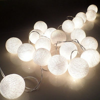 White Cotton Ball String Lights Fairy lights Party ,Wedding,Party.