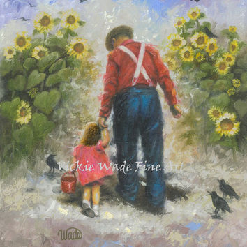 Sunflower Walk With Grandpa Art Print, brunette girl, dad, grandpa, farmer, crows, sunflower paintings, Vickie Wade art