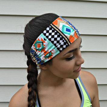 Tribal fitness headband,  Workout head band