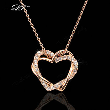 Love Heart Designer CZ Diamond Party Necklaces & Pendants 18K Rose Gold/Platinum Plated Wedding Jewelry For Women DFN062