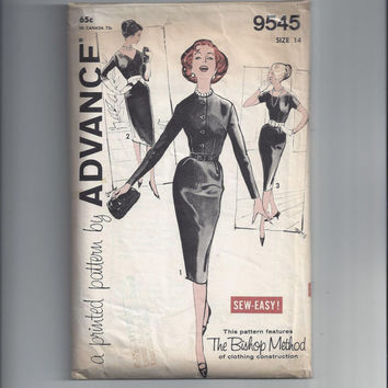 Advance 9545 Pattern for Misses' Fitted Hour-Glass Dress, Size 14, From 1950s, Sew Easy, The Bishop Method, Vintage Pattern, Mad Men Dress