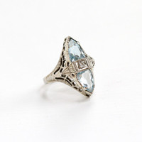 Sale - Antique 14k White Gold Double Aquamarine & Diamond Ring - Art Deco Size 4.5 Blue Faceted Trillion Cut Gem Filigree Fine Jewelry