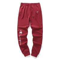 Champion high quality with anti-theft buckle cotton terry trousers red