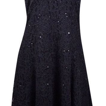 Onyx Nite Women's Strapless Sequin Lace Flare Dress