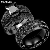 Couple Rings Men and Women Black Stainless Steel CZ Wedding Ring Band Set