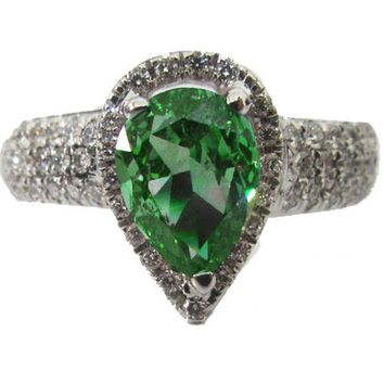 Vintage Gold ring Emerald ring Diamond ring Pear shape Emerald Pave Diamond Ring in 18K White gold