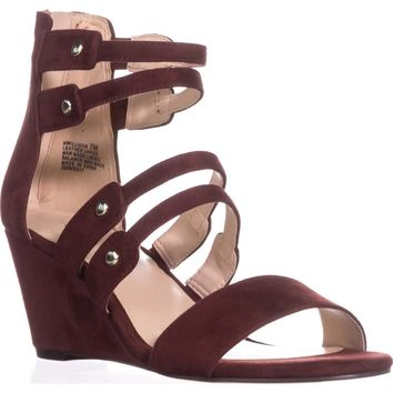 Nine West Illison Strappy Wedge Sandals, Dark Red, 7 US