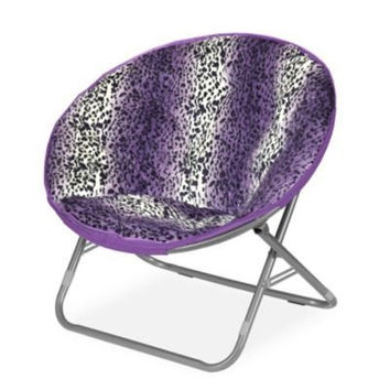 Plush Padded Moon Saucer Chair, Purple
