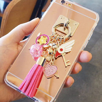 Card captor sakura sailor moon tassel decoden phone case for iphones 5/5S/6S/6S+/7/7+ and samsung