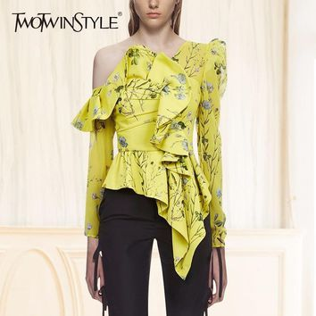 TWOTWINSTYLE Skew Collar Printed Floral Blouse Shirt Female Long Sleeve Ruffle Women Blouses Off Shoulder Sexy Tops Summer