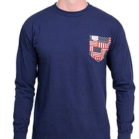 The Betsy Unisex Long Sleeve in Deep Sea Navy with American Flag Pocket by the Frat Collection - FINAL SALE