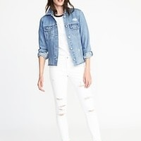 Distressed Raw-Edged Denim Jacket for Women   Old Navy